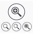 Magnifier glass icons Plus and minus zoom tool vector image