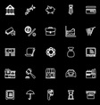 Banking and financial line icons on black vector image