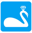 crowned swan rounded square icon vector image