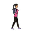 drawing character woman walking with package vector image