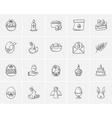 Easter sketch icon set vector image