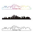 Kansas City skyline linear style with rainbow vector image