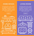 living room design linear poster set vector image