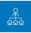 Real estate agent with three houses line icon vector image