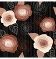 Seamless roses pattern on black background vector image