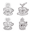 Set of quotes for coffee on a cup vector image