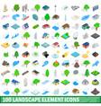 100 landscape element icons set isometric style vector image