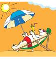 White bear on a beach vector image