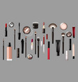 realistic makeup products collection vector image