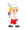 funny cartoon chef showing delicious cake vector image