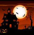 halloween night with grinning pumpkins and scary vector image