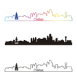 Dallas skyline linear style with rainbow vector image