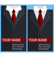 Flat business card template with black jacket vector image