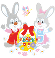 Easter card with rabbits vector image vector image