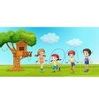 Children skipping rope in the park vector image vector image