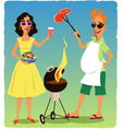 Barbecuing couple vector image
