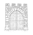 cartoon of stone medieval decision gate closed by vector image