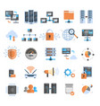 data connection icons set cloud computer vector image