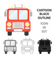 fire truck icon cartoon single silhouette fire vector image