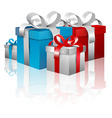 Gift Boxes - 3D Blue and Red Gift Box Set Isolated vector image
