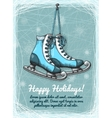 Skate holidays winter invitation vector image