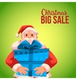 Christmas sale banner with cartoon Santa Claus vector image