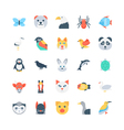 Animals and Birds Colored Icons 1 vector image