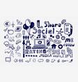 mega collection of hand drawn social media vector image