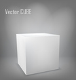White cube on gray background vector image vector image