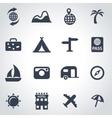 black travel icon set vector image