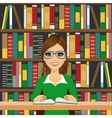 friendly student girl with glasses vector image