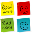 Good bad news notes vector image