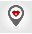 Heart map pin icon vector image