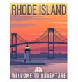 Rhode island newport bridge travel poster vector image