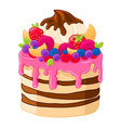 icon cartoon sweet cake with strawberries vector image