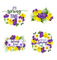 spring flowers bunches and bouquets icons vector image