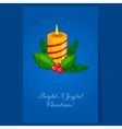 Christmas candle with fir sprigs and Holly vector image
