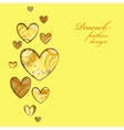 Yellow painted peacock feathers hearts design vector image