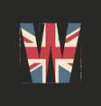 capital 3d letter w with uk flag texture isolated vector image