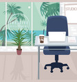 interior of workplace with ocean view in tropics vector image
