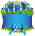Merry christmas and happy new year blue gifts vector image