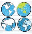 Planet earth hand writing world map vector image