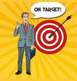 pop art happy businessman achieved the target vector image