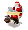 santa shops on-line vector image
