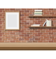 table frame shelf brick background vector image
