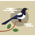 magpie holding the diamond vector image