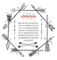 Vintage arrows and feathers frame vector image