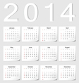 European 2014 calendar vector image vector image