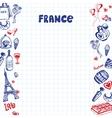 France Symbols Pen Drawn Doodles Collection vector image