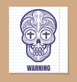 calavera sugar skull on linear page vector image vector image